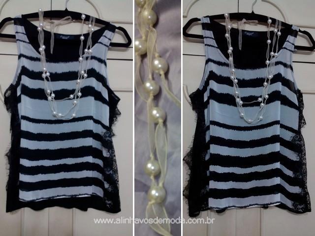 Colar de pérolas sobre blusinha, camiseta regata de listras preto/branco.