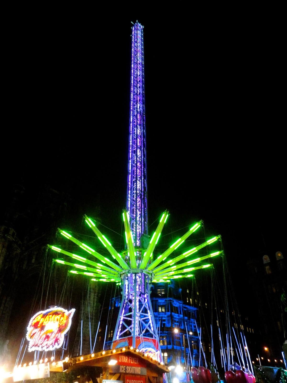 Giant tower of spinning swings in Edinburgh's Winter Wonderland at Christmas in Princes Street Gardens