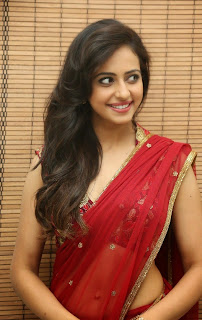 Actress Rakul Preet Singh  Pictures in Red Saree at Tiger Audio Release Function  48.JPG