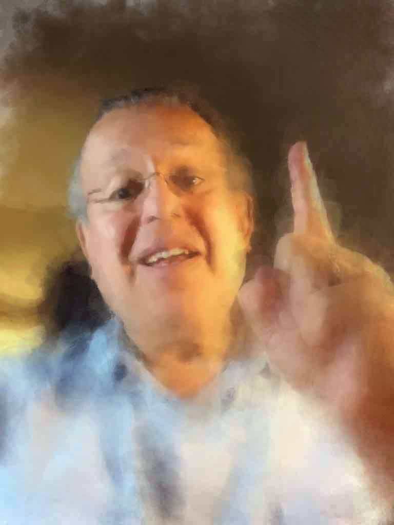 David Ocker's selfie converted to a sort of watercolor