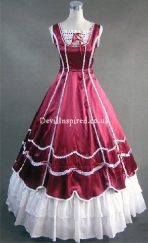 Gorgeous Red and White Sleeveless Lace Gothic Victorian Dress