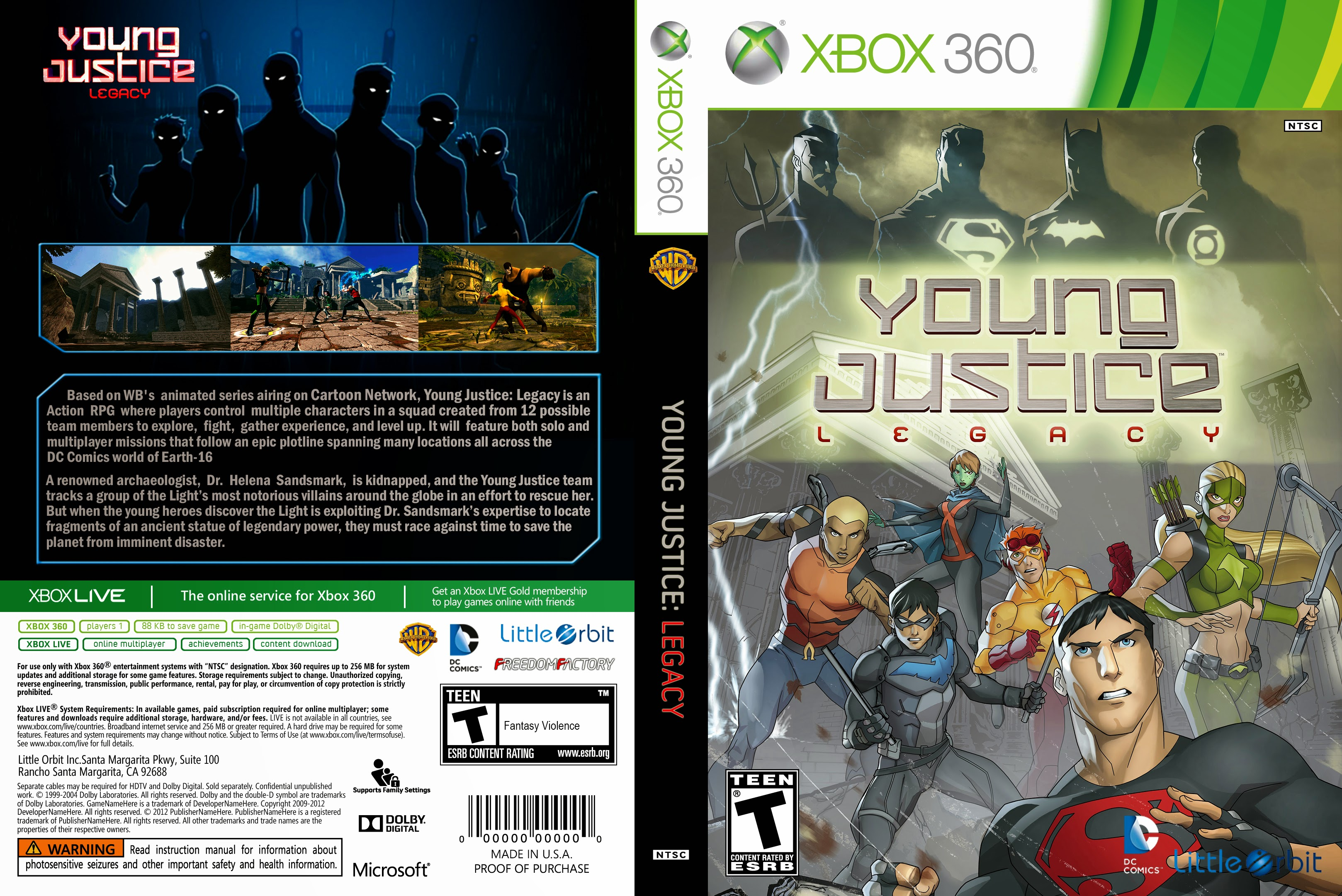 Capa Young Justice Legacy Xbox 360 ~ Gamecover | Download de capas