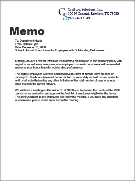 Sample Of A Good Business Memo | Sample Business Letter