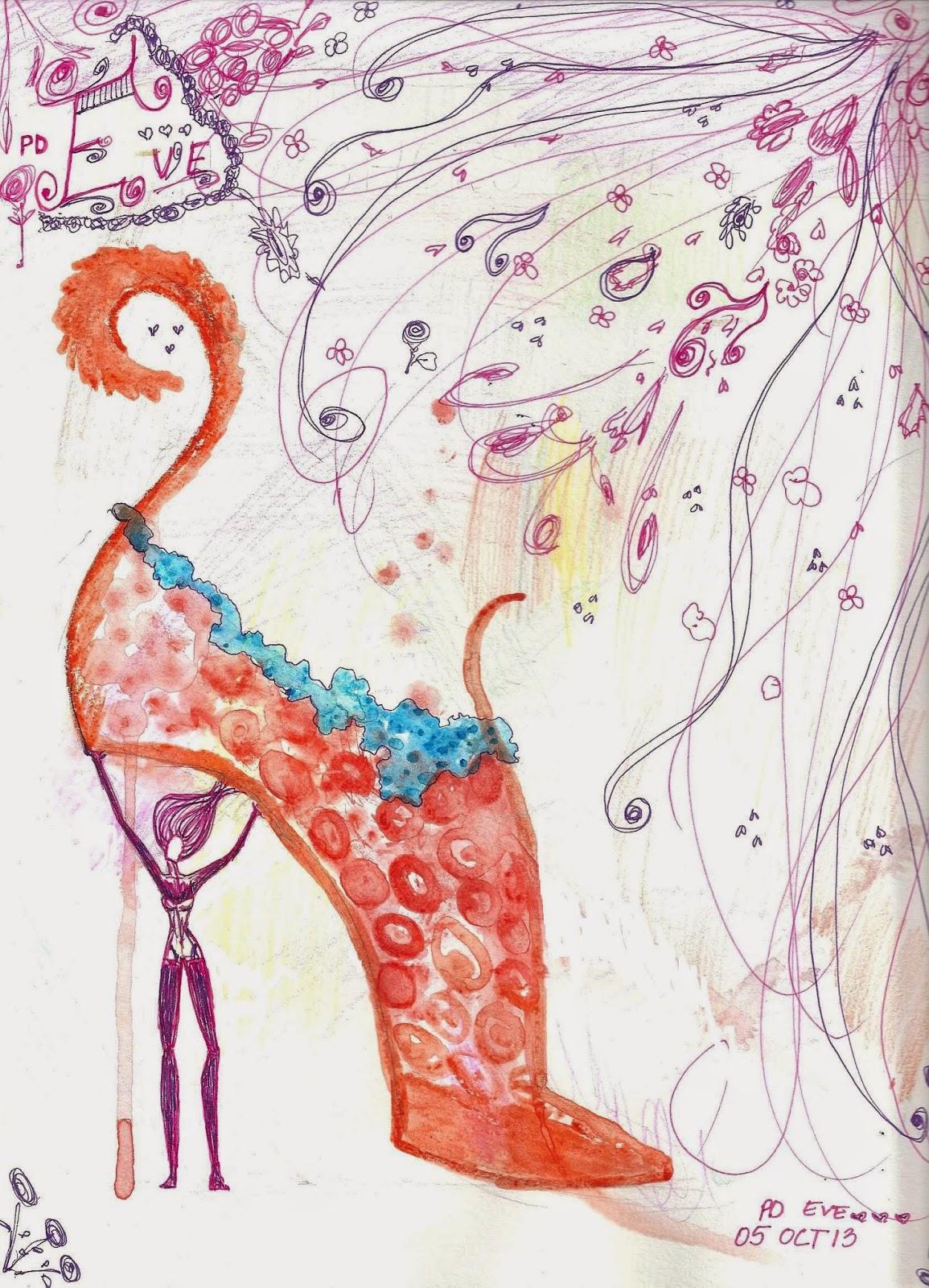 Watercolor Woman Heel Shoe