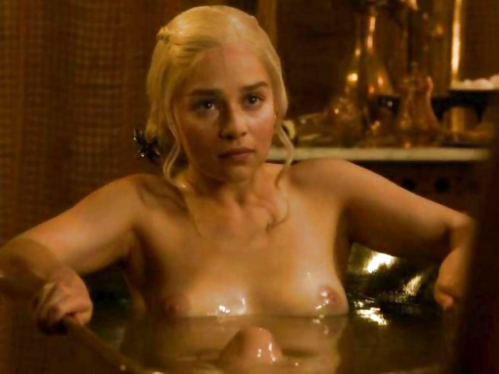 Emilia clarke showing tits and ass getting out of the tub 2