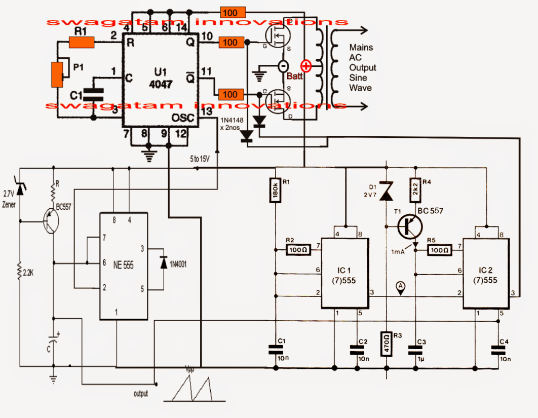 pure sine wave inverter circuit using ic 4047, Circuit diagram