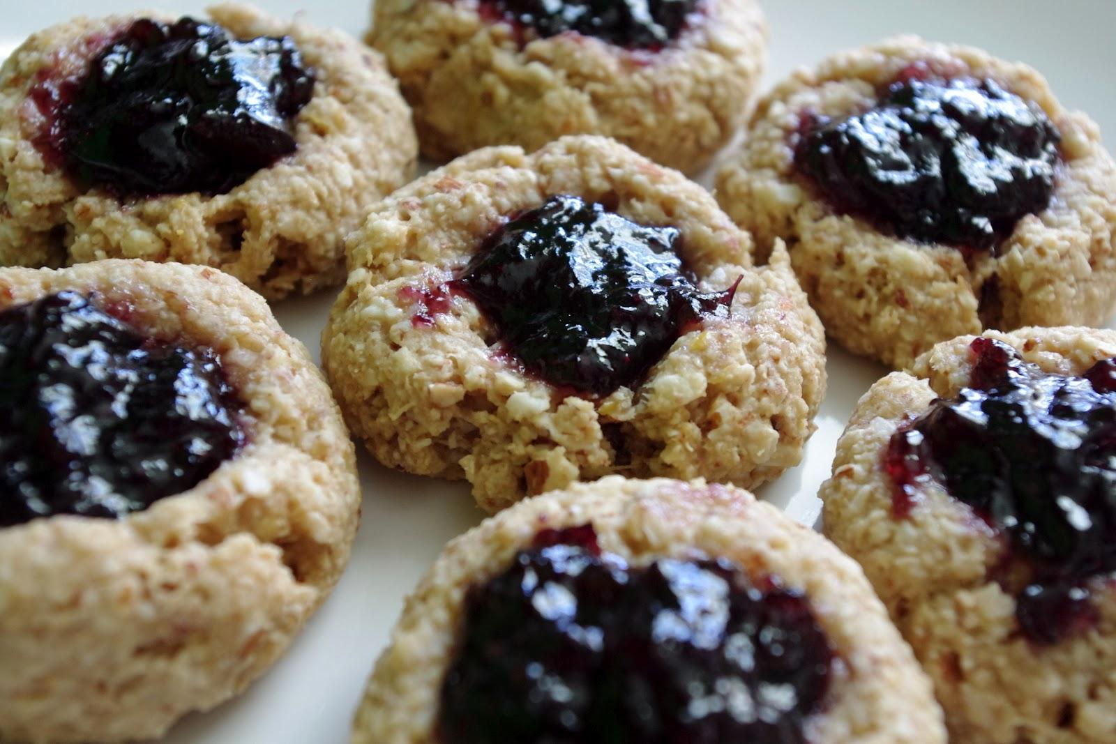 Bite Me (I'm Vegan) : Lemon-Almond-Blueberry Thumbprint Cookies