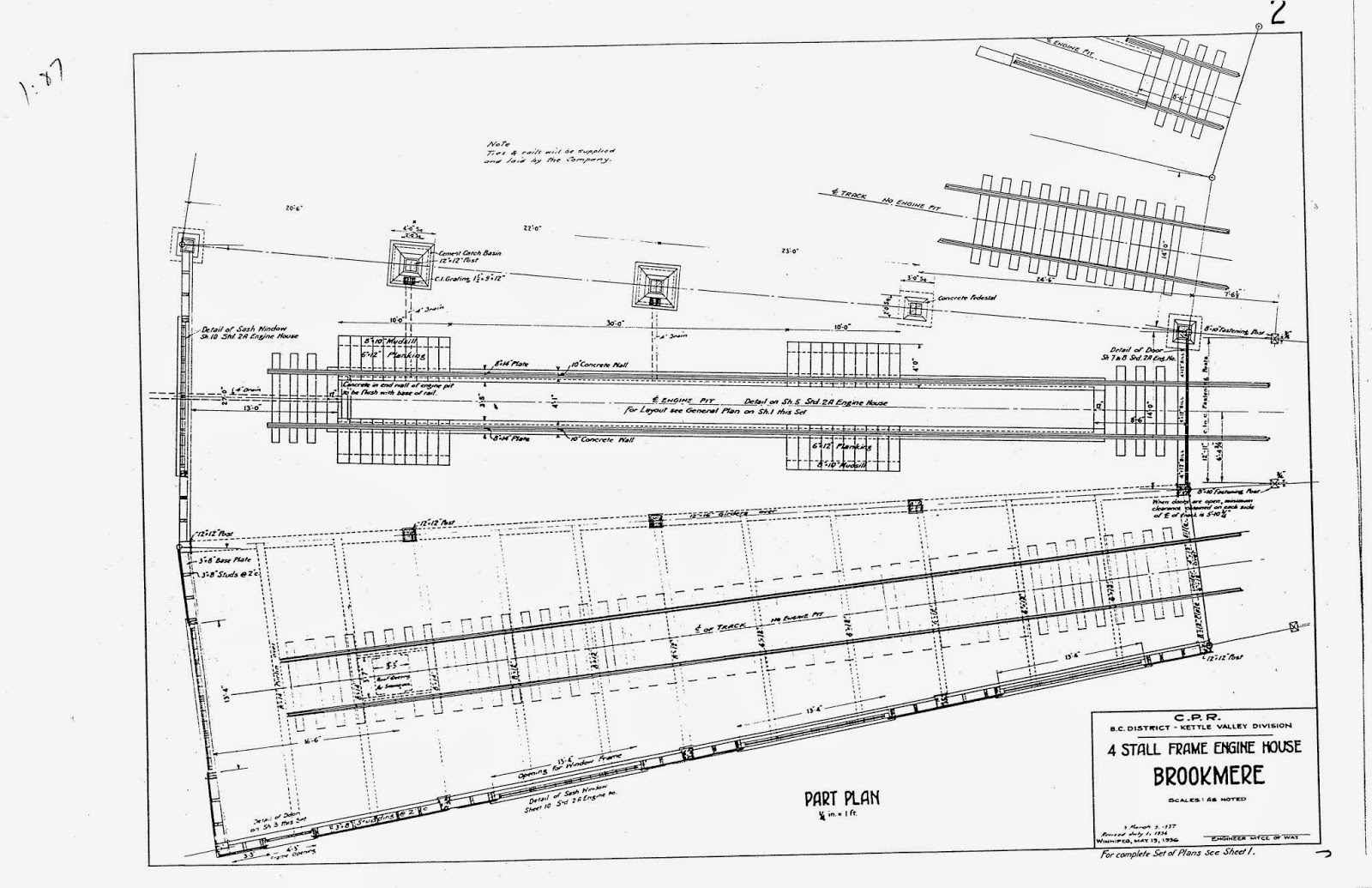 Kettle Valley Model Railway Brookmere Roundhouses I Ii 427 Engine Diagram This Third Sheet Shows The Outside Wall Called End On Drawing With Internal Framing That Is Similar To Posts And Bracing Shown In First