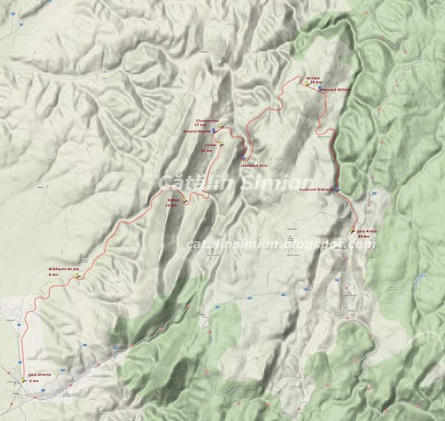 Harta calea ferata Anina - Oravita