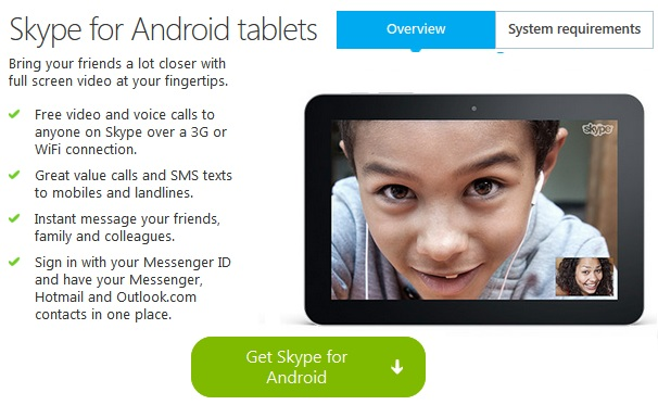 Skype for Android Mobiles and Tablets