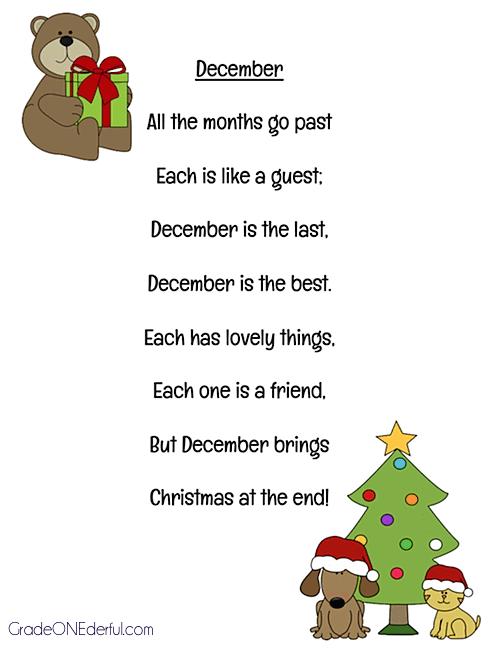 "Christmas Poem Free Printable ""December"""