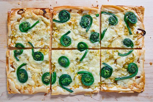 Fiddlehead and Gruyere Tart