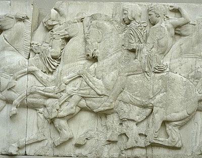 Esculturas del Partenon, Escultura en Grecia, Lucha entre un lapita y un centauro, Tres diosas, Dionisio recostado, Los jinetes,