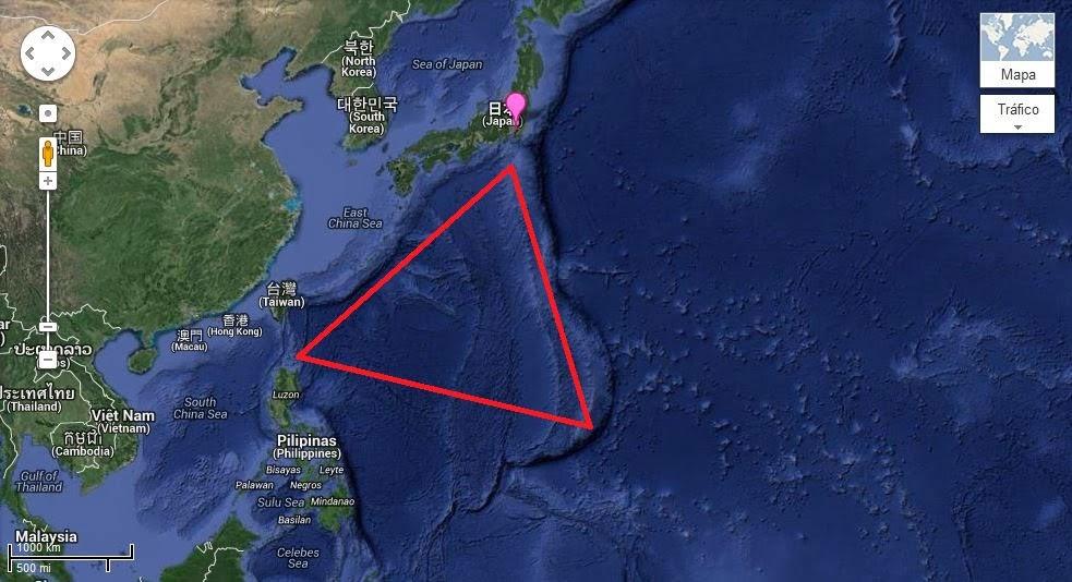 Inicia-se a 100 Km ao sul de Tóquio e uma ponta vai até a ilha de Guam e a outra até as Ilhas Marianas, formando uma área com mais de 1.2 milhões de quilômetros quadrados
