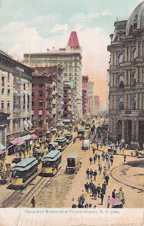 North Broadway from Fulton Street Vintage Postcard