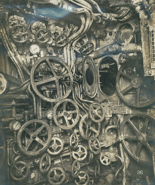 Control room of the UB-110 German submarine, ca. 1918