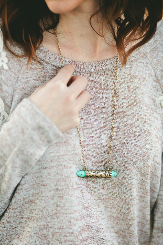 Turquoise and brass necklace against light brown top, St. Augustine Style Blogger Meaghan Alvarado, http://www.justmeaghan.com