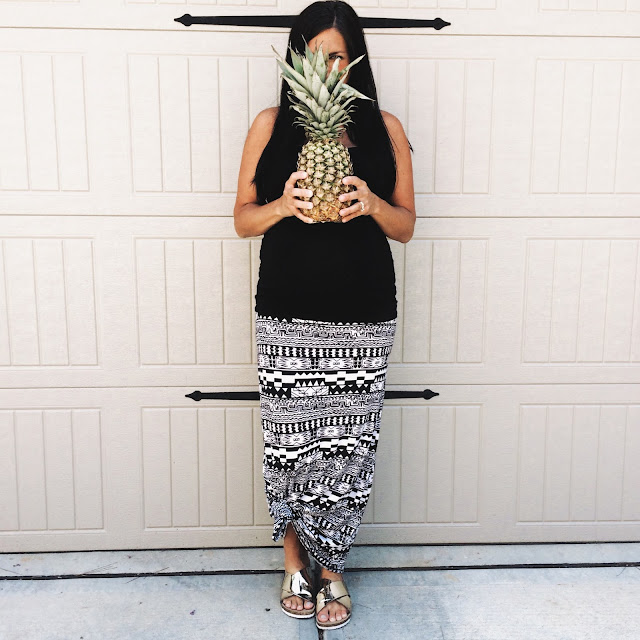 aztec maxi skirt, pineapple week