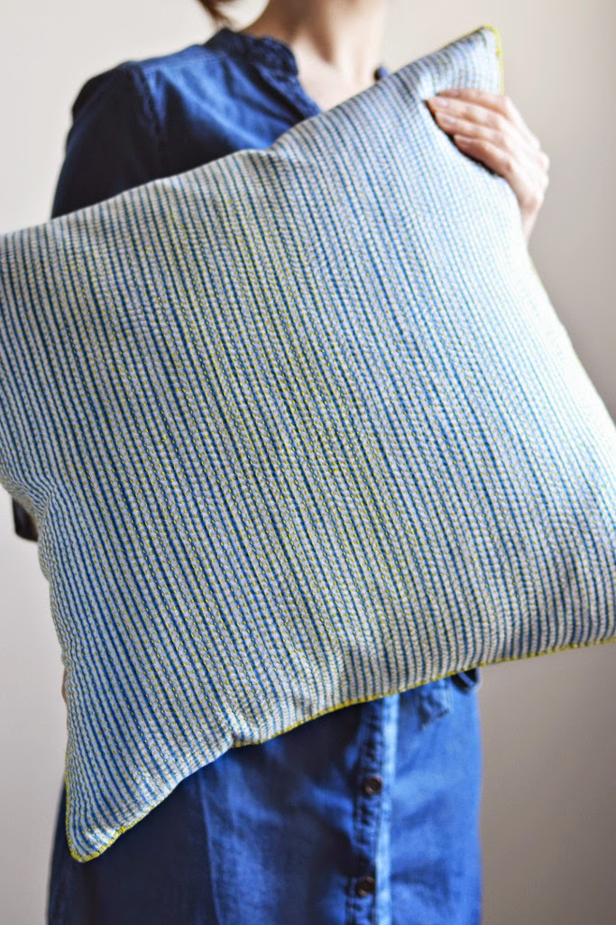 Shibori dyed indigo cushions pinstripes