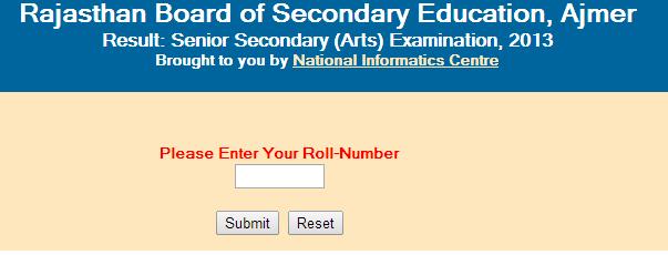 Rajasthan Senior Secondary/12th (Arts) 2015 Result
