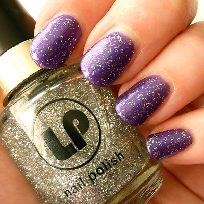 Nail polish swatch of Laura Paige Pouty Purple and Crystal Daze