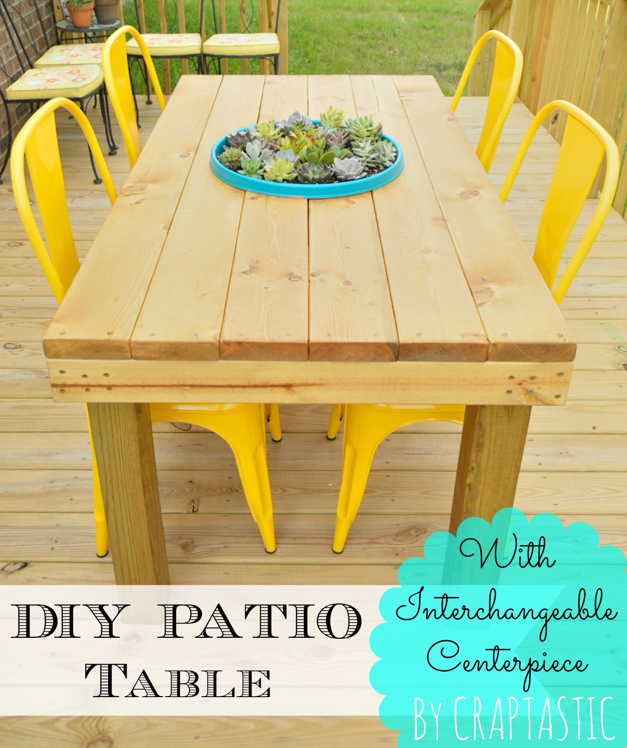 Craptastic diy patio table with interchangeable centerpiece for Patio table centerpiece ideas