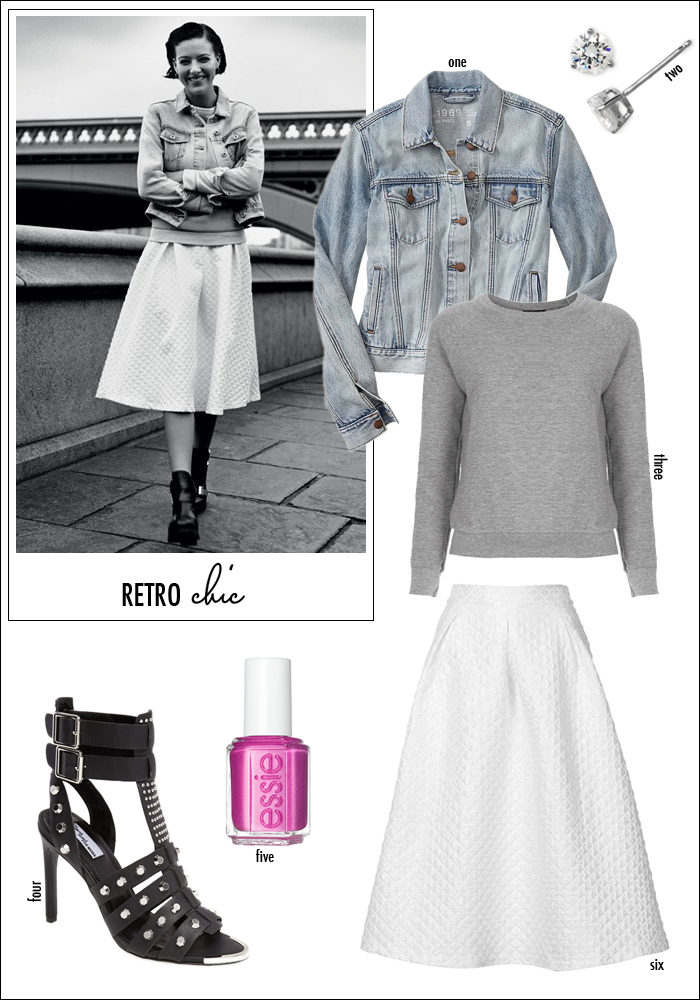 denim jacket, retro look, 50s inspired, how to wear sweatshirt with skirt, midi skirt, full skirt, nordstrom