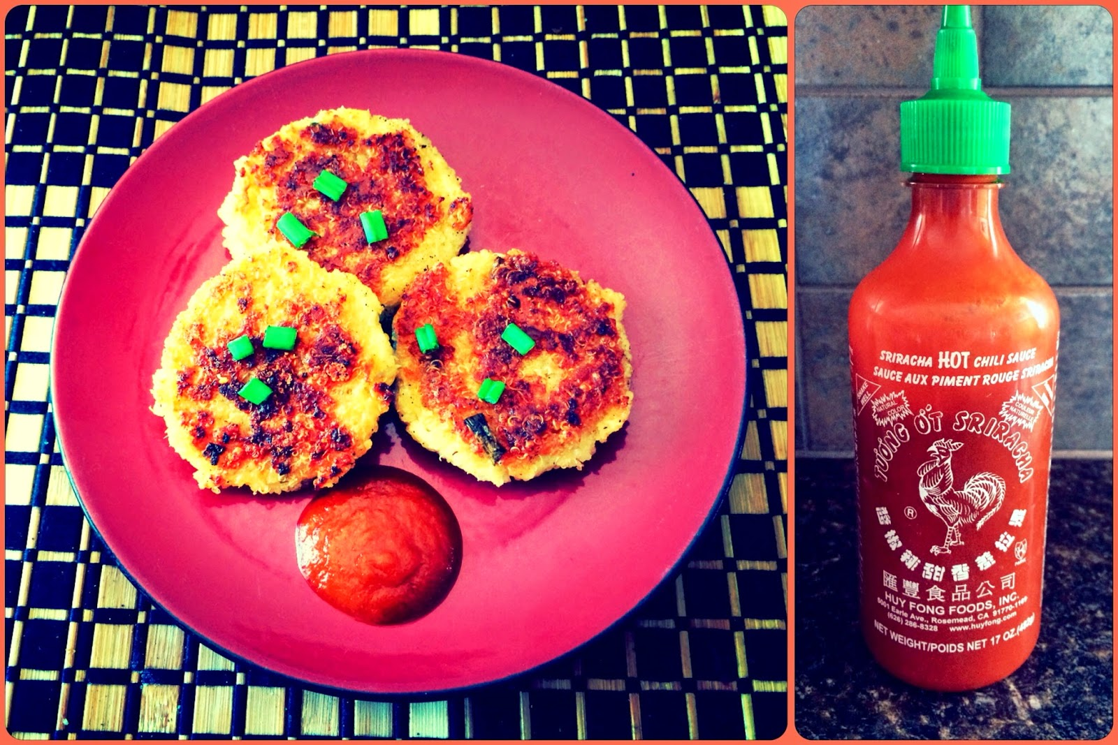 Pan-Fried Quinoa Cakes with Cheese/Sriracha sauce
