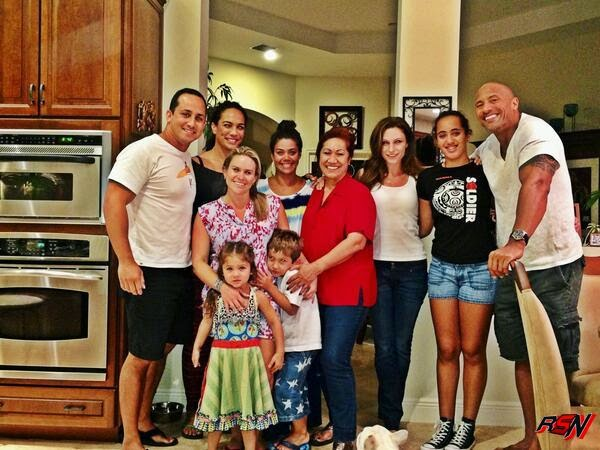 The Rock with His Girlfriend and Family on Fourth of July.