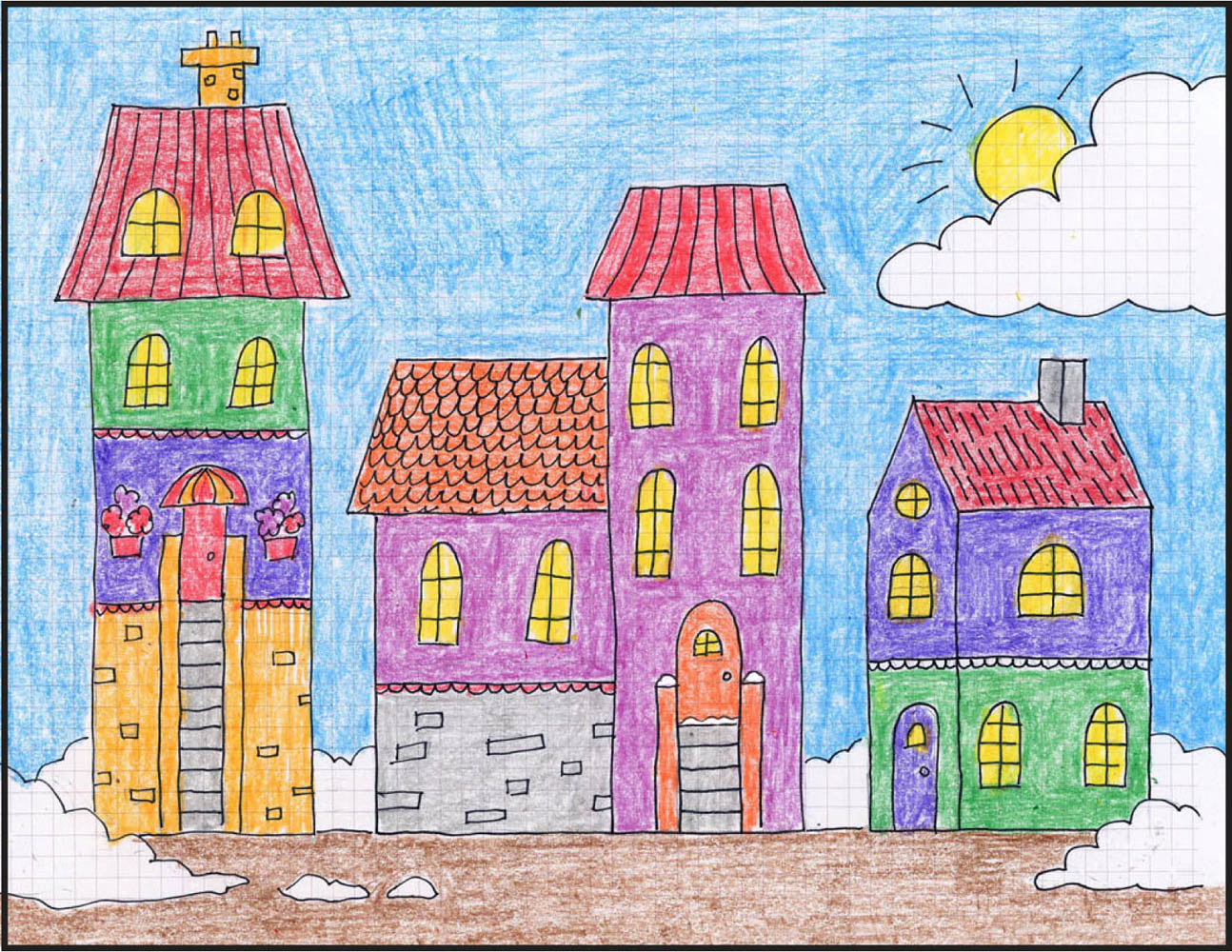 Draw a winter town art projects for kids for Projects of houses