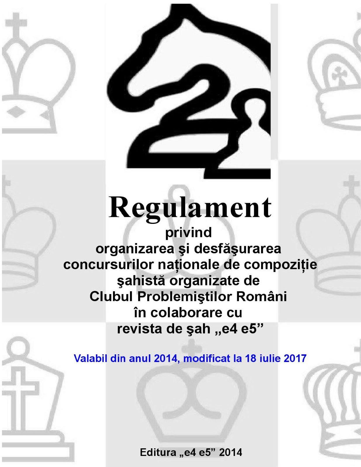 Regulament privind organizarea și desfășurarea concursurilor naționale de compoziție șahistă