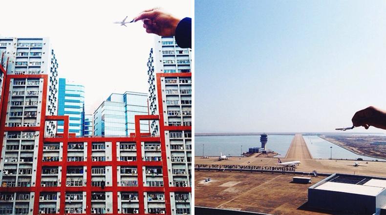 Imaginativas fotos de un avión de juguete volando en el cielo