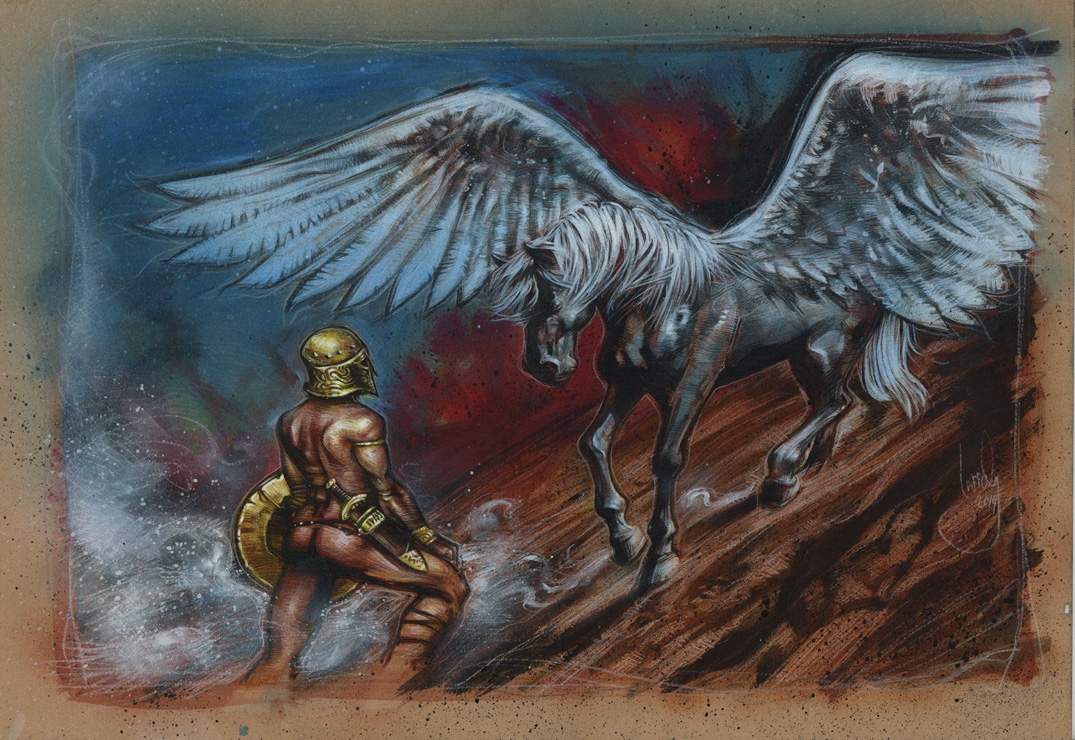 Pegasus and Bellerophon, Fantasy Artwork is Copyright © 2014 Jeff Lafferty