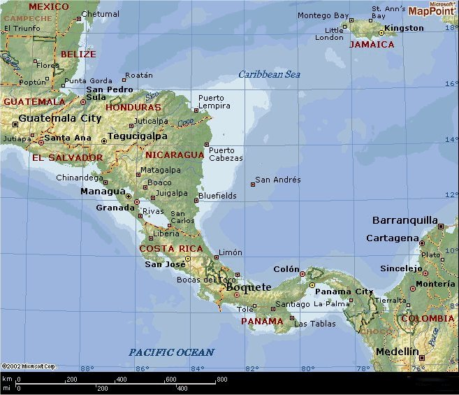 POKER REFUGEES BLOG Player Interview Adam Ross Costa Rica Panama - Central america caribbean physical map 2002