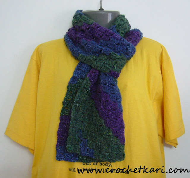 Crochet C2C scarf variegated yarn