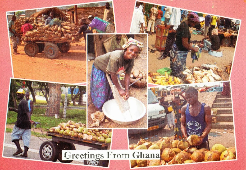 ghana, market, postcard