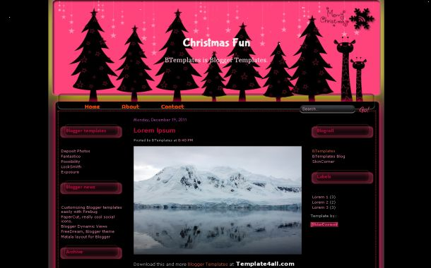 Free Christmas Black Pink Blogger Theme Template