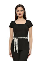 Bluza din bumbac negru cu textura striata SR02SB (Ama Fashion)