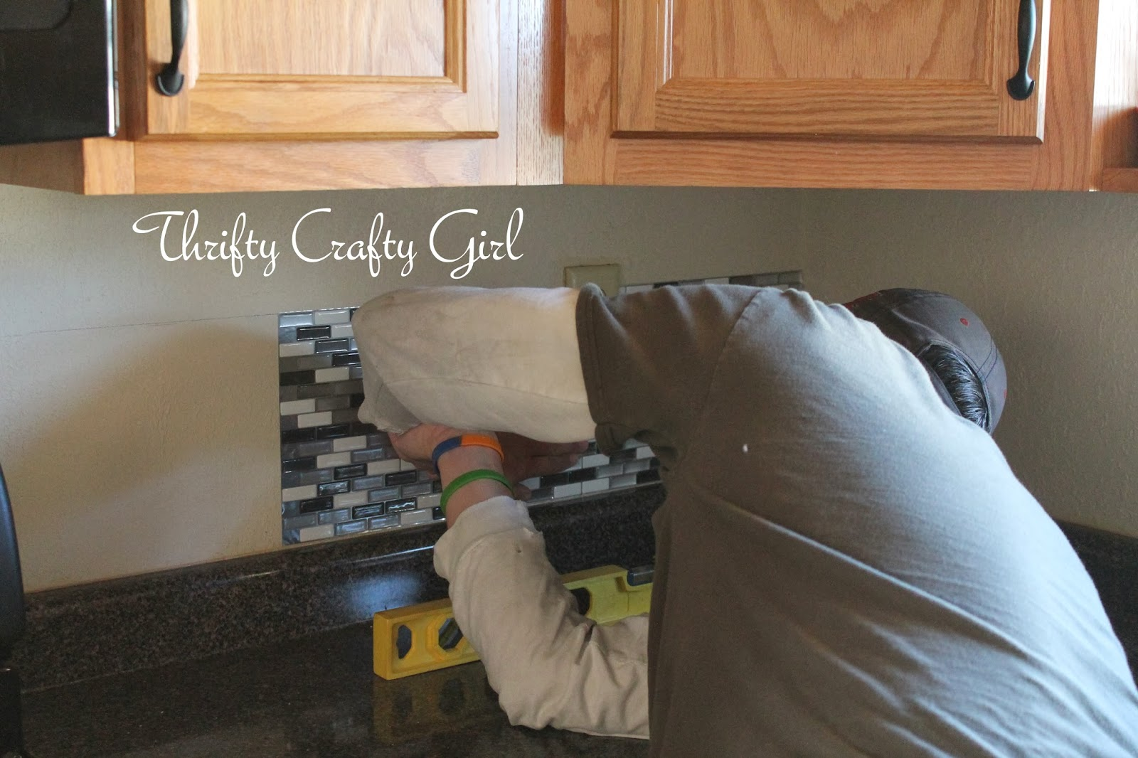 Simple Kitchen Backsplash Tiles thrifty crafty girl: easy kitchen backsplash with smart tiles