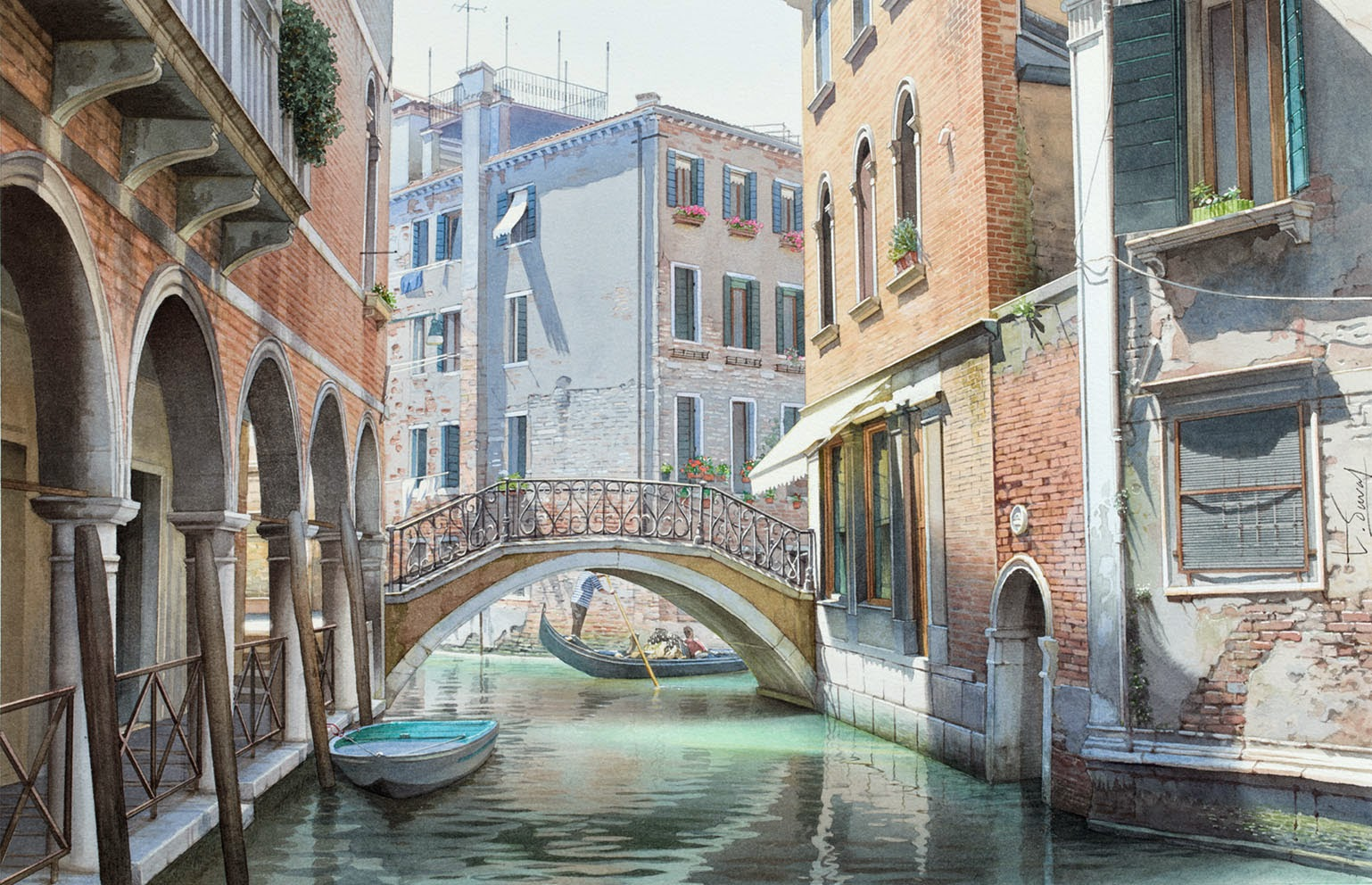 31-Venice-Thierry-Duval-Snippets-of Real-Life-in Watercolor-Paintings-www-designstack-co
