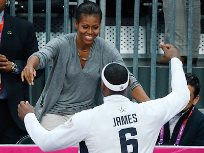 Michelle Obama Hugs Lebron James