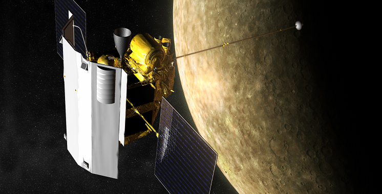 Artist's impression of MESSENGER spacecraft in Mercury's orbit. Credit: NASA
