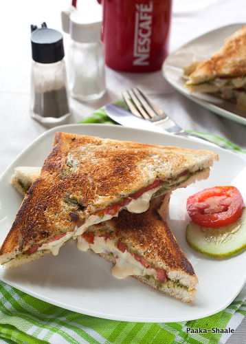 ... Shaale: Grilled vegetable cheese sandwich with spinach avocado spread