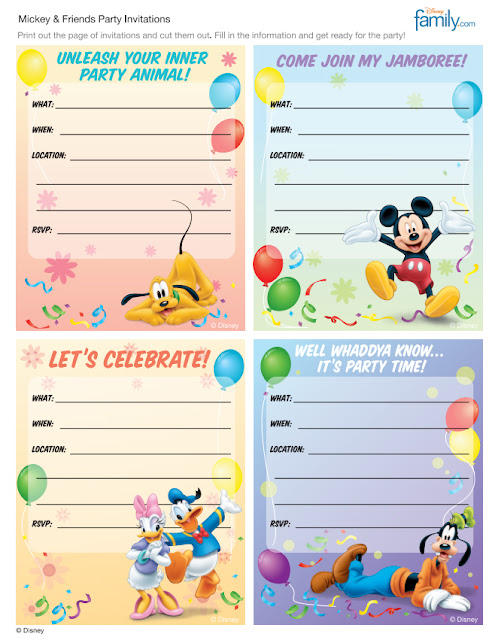 And here's a free invitations printable page from Disney themselves!