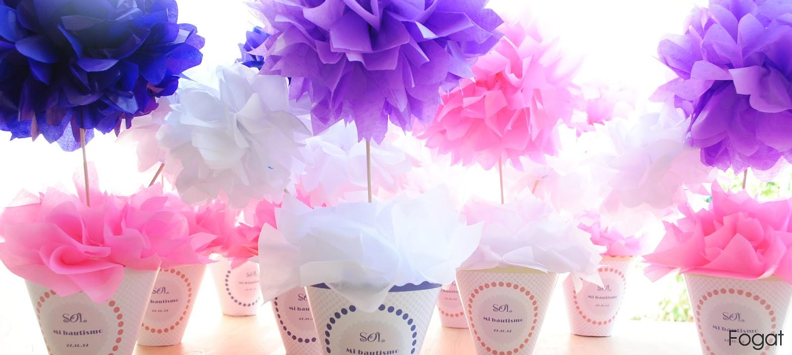Flores de papel para centros de mesa