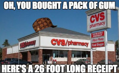Scumbag CVS says, oh you bought a pack of gum. Here's a 26 foot long receipt.