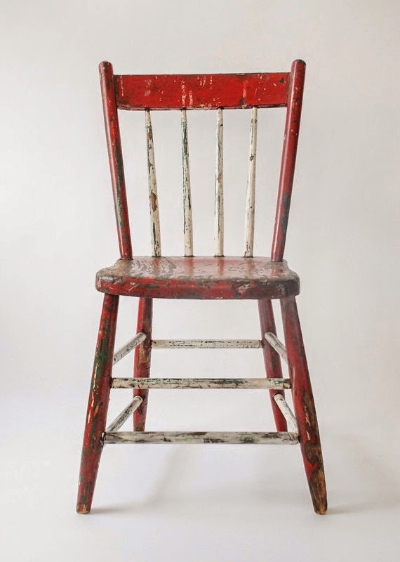 vintage red and white chair for the porch or cottage