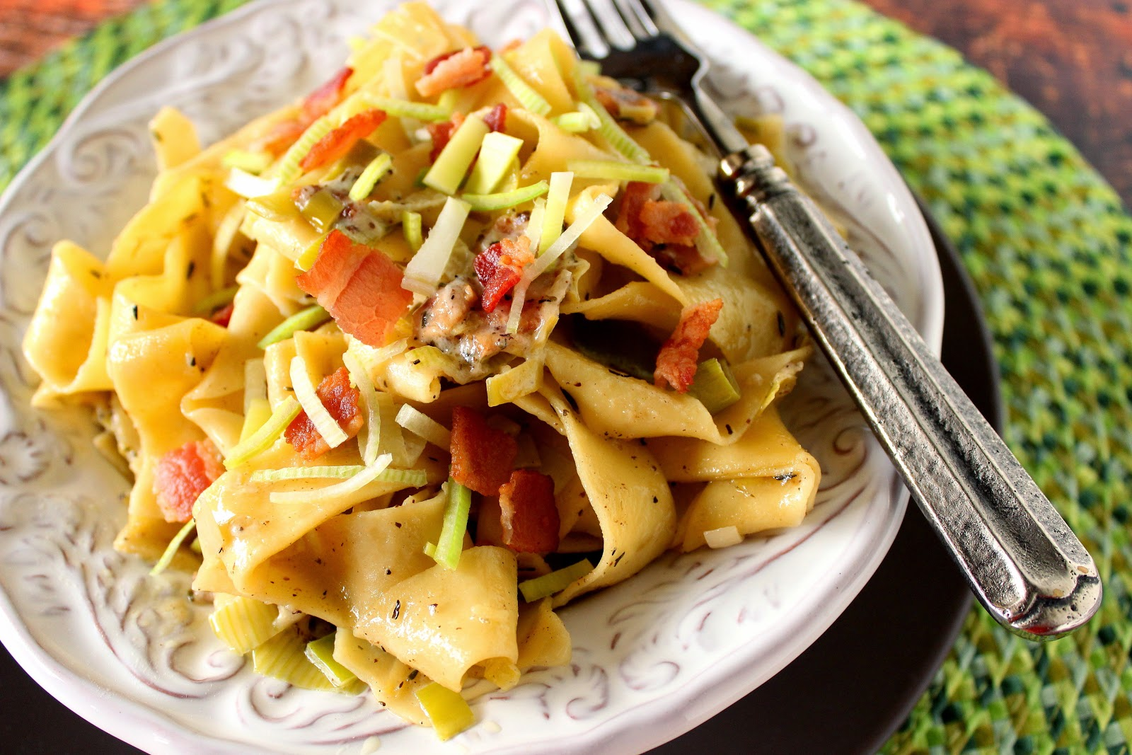 Pappardelle with Leeks and Bacon / Kudos Kitchen by Renee