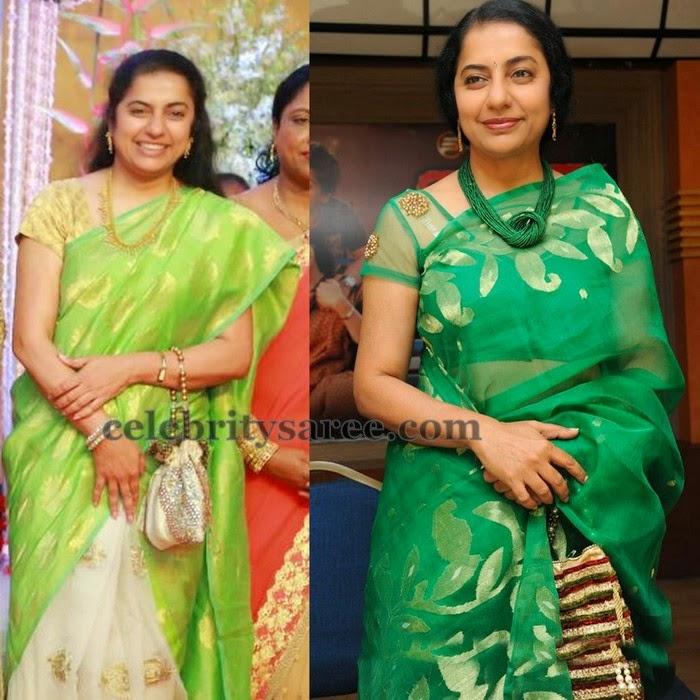 Suhasini Maniratnam Green Tissue Sarees