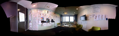 Photo of meeting room bedecked with sketches and printouts